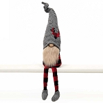 RED BUFFALO PLAID GNOME WITH DEER HEAD ON WIRED GREY SWEATER HAT, WOOD NOSE, BEIGE BEARD & LEGS 4