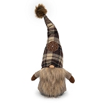 BROWN NORTHWOODS SITTING GNOME WITH SNOWFLAKE ON PLAID HAT & FUR POM-POM 9.25
