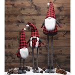 RED/BLACK BUFFALO PLAID EXPANDABLE GNOME WITH FUR POM & WHITE BEARD SMALL 13