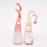 HEART and POM-POM GNOME PINK/CREAM LARGE 3.5