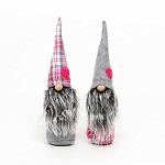 HEART GNOME with WOOD NOSE PINK PLAID/GREY 2