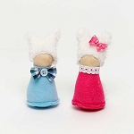 BUNNY KIDS with WOOD HEAD  2 Assorted BLUE/PINK 2