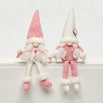 HEARTFELT GIRLY GNOME with PIGTAILS and FLOPPY LEGS 2 Assorted Pink/Cream SMALL 2