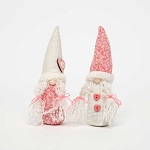 HEARTFELT GIRLY GNOME with PIGTAILS 2 Assorted Pink/Cream 1.5