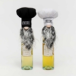 CHEERS CHEF GNOME BOTTLE TOPPER 2 Assorted White/Black 4.5