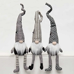 URBAN GREY/CREAM GNOME with FLOWER and FLOPPY LEGS 3 Assorted STRIPE/DOT/SOLID LG 3