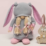 ZOEY WITH BUNNY GNOME WITH GREY BUNNY EARS HAT, BLONDE YARN HAIR WOOD NOSE AND SHOES LARGE 8
