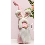 BUDDY BUNNY GNOME WITH BUNNY EARS HEADBAND, PINK HAT, WOOD NOSE, WHITE BEARD AND BUNNY TAIL LARGE 5