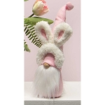 BUDDY BUNNY GNOME WITH BUNNY EARS HEADBAND, PINK HAT, WOOD NOSE, WHITE BEARD AND BUNNY TAIL SMALL 3