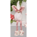 SLUMBER PARTY GNOME WITH BUNNY EARS HAT, WOOD NOSE, WHITE BEARD, KNOTTED LEGS AND BUNNY SLIPPERS LARGE 4