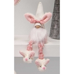 SLUMBER PARTY GNOME WITH BUNNY EARS HAT, WOOD NOSE, WHITE BEARD, KNOTTED LEGS AND BUNNY SLIPPERS SMALL 4.25