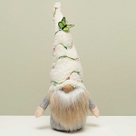 FAIRY GARDEN GNOME WITH FUZZY HAT WITH BERRY VINE AND BUTTERFLY, WOOD NOSE, TAN/WHITE BEARD AND ARMS 6.5