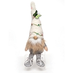 FAIRY GARDEN GNOME WITH FUZZY HAT WITH BERRY VINE AND BUTTERFLY, WOOD NOSE, TAN/WHITE BEARD, ARMS AND LEGS 5