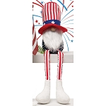 AMERICANO GNOME WITH UNCLE SAM HAT, WOOD NOSE, WHITE BEARD AND RED/WHITE STRIPED LEGS SMALL 4