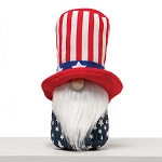 AMERICANO GNOME WITH UNCLE SAM HAT, WOOD NOSE AND WHITE BEARD 5