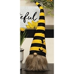 HUMBLE BEE GNOME WITH YELLOW/BLACK STRIPED BEE HAT, WOOD NOSE AND BROWN BEARD 4