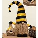 HUMBLE BEE GNOME HOLDING A BEE SKEP WITH YELLOW/BLACK STRIPED HAT, WOOD NOSE, JUTE BEARD AND FEET 6