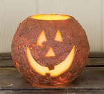Large Jack-O-lantern Round LED Battery Candle - 5.4 in. x 4.4 in.