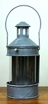 Gray Round Lantern - 7 in diameter x 15.75 in tall / 19 in with handle