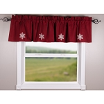 Snowflake Barn Red Valance