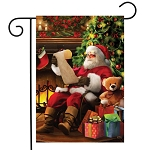 Naughty or Nice Santa Garden Flag