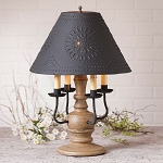 Cedar Creek Lamp in Americana Pearwood with Textured Black Tin Shade