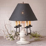 Cedar Creek Lamp in Americana White with Textured Black Tin Shade