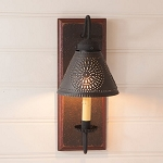 Crestwood Wood Wall Sconce Light in Espresso with Salem Brick