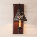 Crestwood Wood Wall Sconce Light in Plantation Red