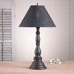 Davenport Lamp in Americana Black with Textured Black Tin Shade