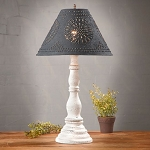 Davenport Lamp in Americana Vintage White with Textured Black Tin Shade