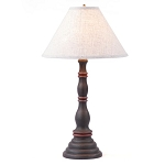 Davenport Lamp in Hartford Black and Red with Linen Ivory Shade