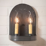 Double Wall Sconce Light with Willow in Blackened Tin