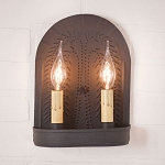 Double Wall Sconce Light with Willow in Textured Black
