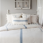 Grain Sack Solid Cream & Colonial Blue Queen Duvet Cover