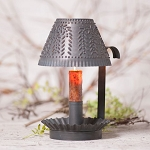 Farmhouse Shaded Candlestick Moving Flame Electric Candle Accent Light in Blackened Tin