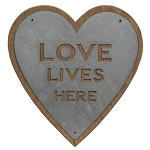 Love Lives Here Metal Heart Sign
