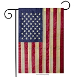 Tea Stained Embroidered American Garden Flag