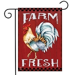 Farm Fresh Rooster Garden Flag