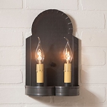 Hanover Double Wall Sconce Light in Blackened Tin