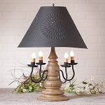 Harrison Lamp in Americana Pearwood with Textured Black Tin Shade