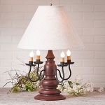 Harrison Lamp in Americana Red with Linen Ivory Shade