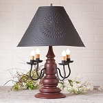 Harrison Lamp in Americana Red with Textured Black Tin Shade
