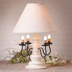 Harrison Lamp in Americana White with Linen Ivory Shade
