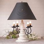 Harrison Lamp in Americana White with Textured Black Tin Shade