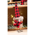 Felted Standing Owl w/Plaid Hat - 9inH