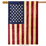 Tea Stained American Flag Applique & Embroidered House Flag