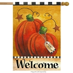 Pumpkin Autumn Welcome House Flag