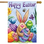 Happy Easter Bunny House Flag