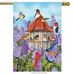 Birds and Lilacs House Flag